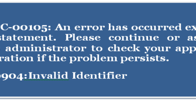 Siebel error code: SBL-DBC-00105 or ORA-00904