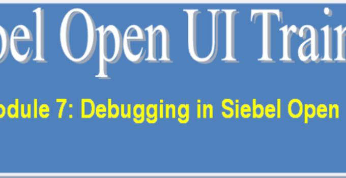 Debugging in Siebel Open UI Training