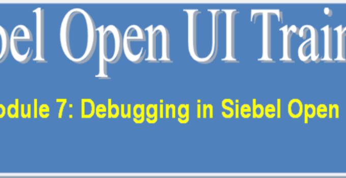 Debugging in Siebel Open UI Training