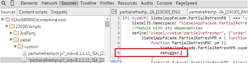 Debugging techniques in Siebel Open UI
