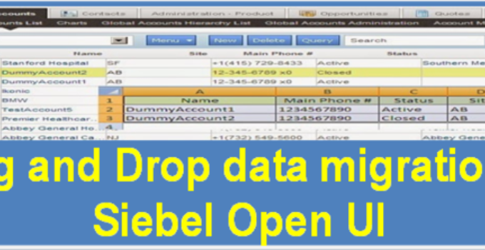 drag and drop data migration in Siebel open ui list applet